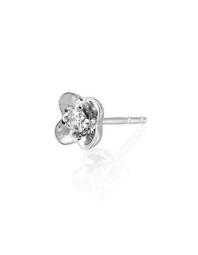 Fine Jewellery 14KT White Gold and 0.10TCW Canadian Diamond Flower Stud Earrings-SILVER-One Size