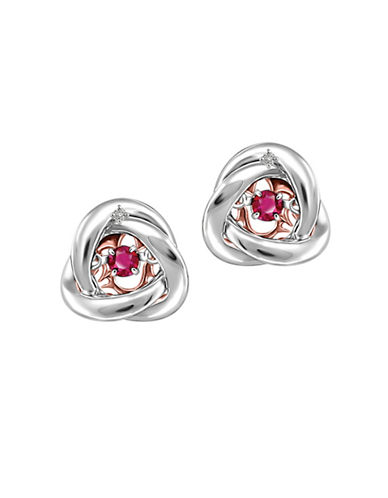Fine Jewellery Two-Tone Rhythm of Love Ruby 0.006 TCW Diamond Studs-RED-One Size