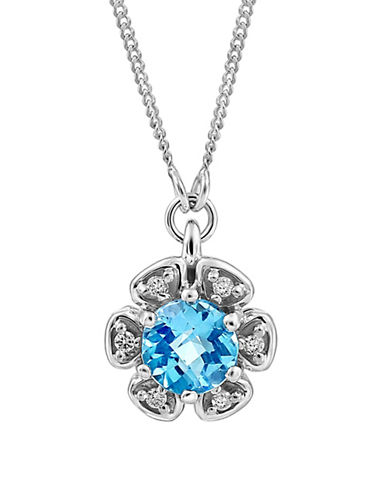 Fine Jewellery 0.03 TCW Diamonds, Blue Topaz and 14K White Gold Pendant Necklace-BLUE-One Size