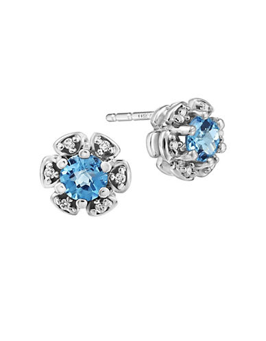 Fine Jewellery 0.05 TCW Diamonds, Blue Topaz and 14K White Gold Stud Earrings-BLUE-One Size