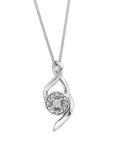 Fine Jewellery 0.06 TCW Diamond and 14K White Gold Swirl Necklace-WHITE GOLD-One Size