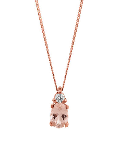 Fine Jewellery 14K Rose-Gold Pendant Necklace with Morganite and 0.05 TCW Diamonds-ROSE GOLD-One Size