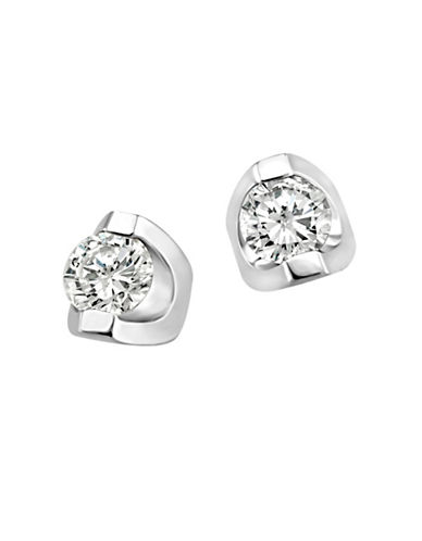 Fine Jewellery 14K White Gold Studs with 0.10 TCW Diamonds-WHITE GOLD-One Size