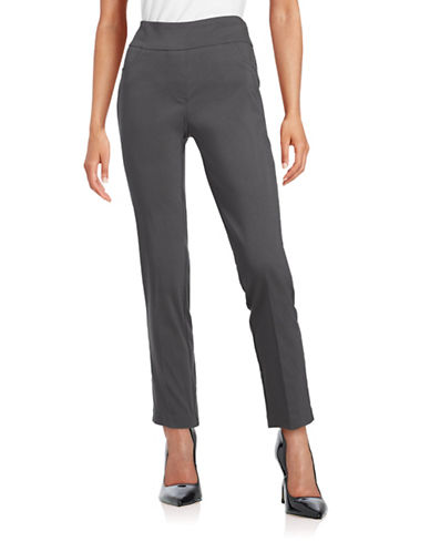 Ruby Rd Slimming Contour Waistband Pants-GREY-10