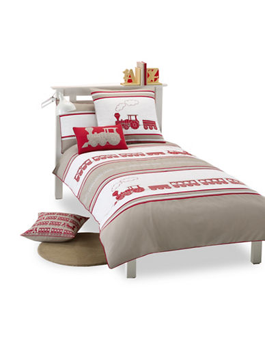 Maholi Maholi Steam Train Three-Piece Duvet Cover Set-RED-Twin