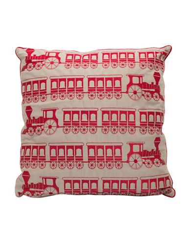 Maholi Steam Train Cushion-RED-18x18