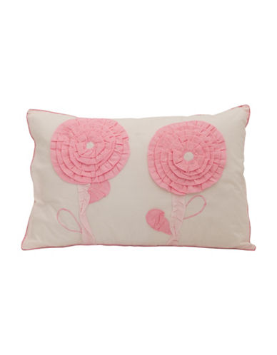 Maholi Embroidered Floret Breakfast Cushion-PINK-One Size