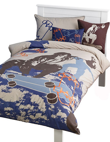 Maholi Skater Print Duvet Cover Set-BLUE-Queen