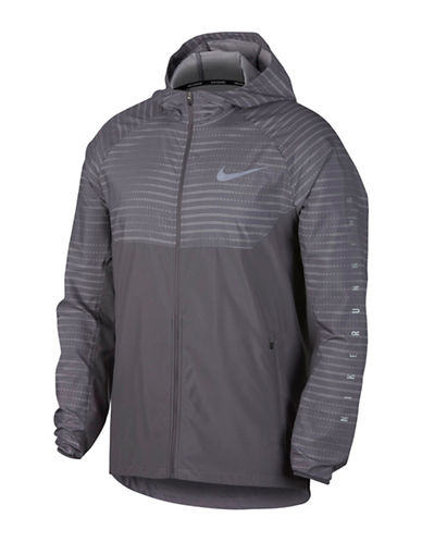 Nike Essential Hooded Running Jacket-GREY-Large