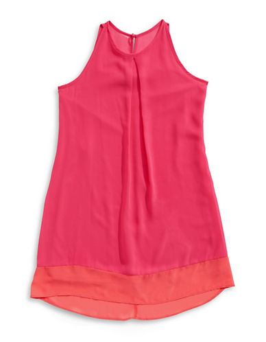 Ally B Sleeveless Trapeze Dress with Necklace-PINK-7