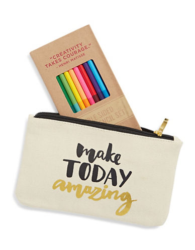 Eccolo Make Today Amazing Pencil Case Set-BEIGE-One Size