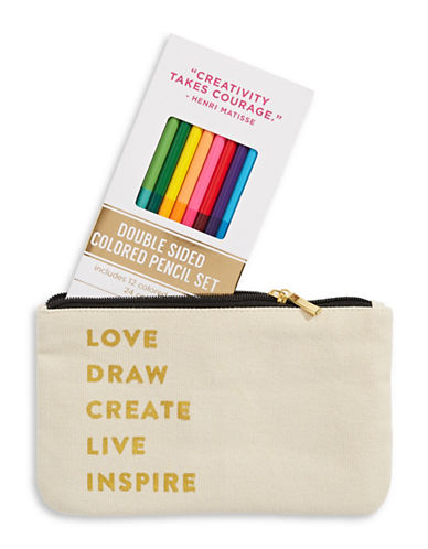 Eccolo Love And Draw Pencil Case-BEIGE-One Size