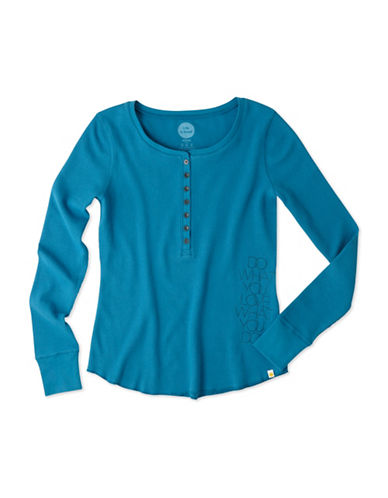 Life Is Good Waffle Henley Long Sleeve Top-BLUE-Large 88796575_BLUE_Large