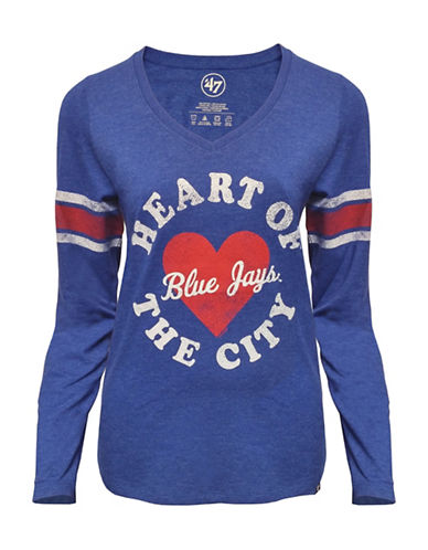47 Brand Toronto Blue Jays Ladies Knockaround Club Stripe Tee-ROYAL-Medium