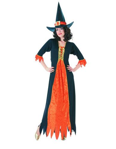 Rubies Costumes Womens Gothic Witch Costume-BLACK/ORANGE-Medium