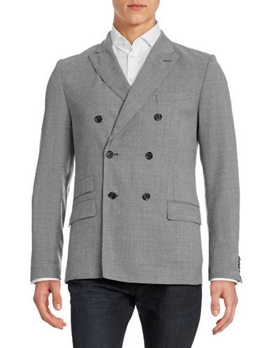 J. Lindeberg Hopper Double-Breasted Super 110s Wool Sports Jacket-GREY MELANGE-38