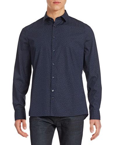 J. Lindeberg Printed Slim-Fit Shirt-NAVY-X-Large