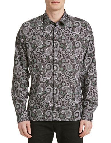 J. Lindeberg Paisley Print Sport Shirt-GREEN-X-Large