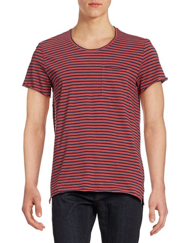 J. Lindeberg Striped Slub T-Shirt-RED-X-Large