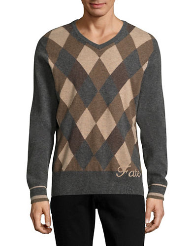 J. Lindeberg Argyle Crest-Back Sweater-BURGUNDY-Large