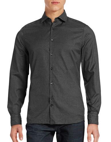 J. Lindeberg Slim-Fit Checkered Sport Shirt-BLACK-Small