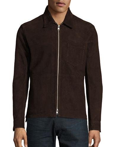 J. Lindeberg Suede Zip-Front Jacket-MUD BROWN-X-Large