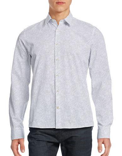 J. Lindeberg Polka Dot Poplin Shirt-NAVY-X-Large