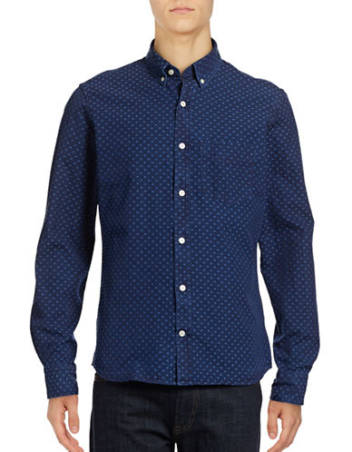 J. Lindeberg Dot Denim Shirt-BLUE-X-Large