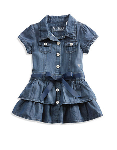 Guess Baby Girl Ruffled Chambray Shirtdress 12-24M-DARK STONE-24 Months