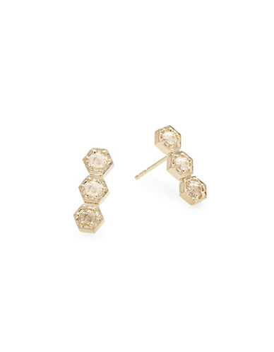 Bolt 14 K Gold And Clear Topaz Crawler Earrings by Jac + Jo