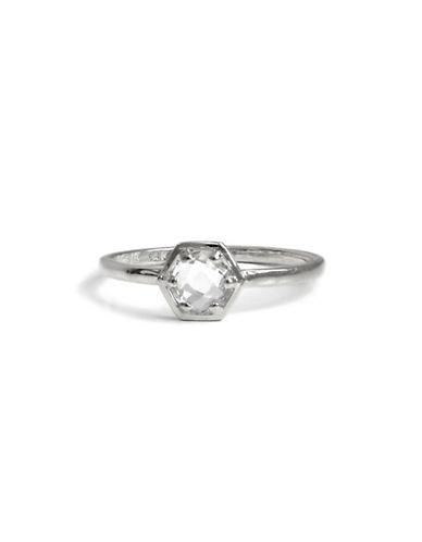 Bolt 925 Sterling Silver And Clear Topaz Mini Solitaire Ring by Jac + Jo