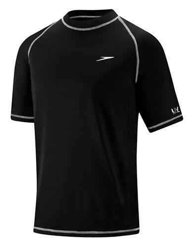 Speedo Short Sleeve Swim Tee-BLACK-Small 86892223_BLACK_Small