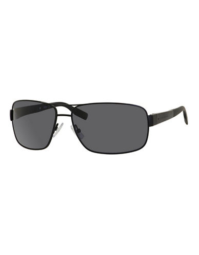 Boss 65mm Rectangular Sunglasses-MATTE BLACK-One Size