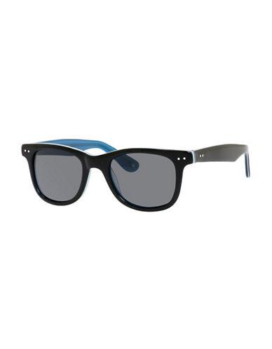 Polaroid Plastic Rectangle Sunglasses-BLACK/BLUE-One Size