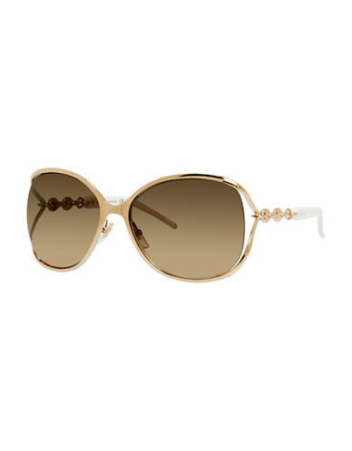 Gucci Linked Chain 60mm Oversized Sunglasses-GOLD-One Size