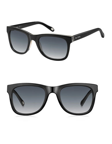Fossil 53MM Vintage Collection Rectangle Sunglasses-BLACK-One Size