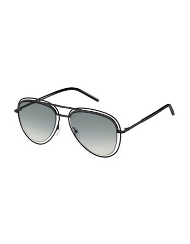 Marc Jacobs Shiny 54mm Aviators-BLACK-One Size