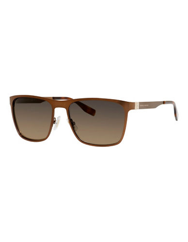 Boss 57mm Classic Wayfarer Metal Sunglasses-BROWN-One Size