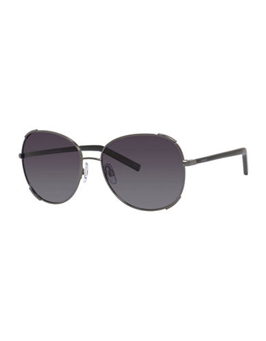 Polaroid 59mm Round Aviator Sunglasses-BLACK-One Size