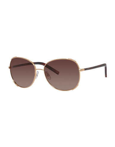 Polaroid 59mm Round Aviator Sunglasses-GOLD-One Size