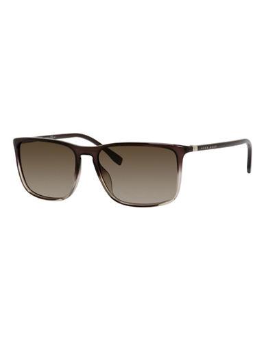 Boss 57mm Classic Wayfarer Plastic Sunglasses-GREY BROWN-One Size
