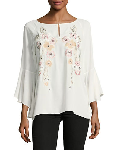 Ivanka Trump Embroidered Tunic-VANILLA-Small