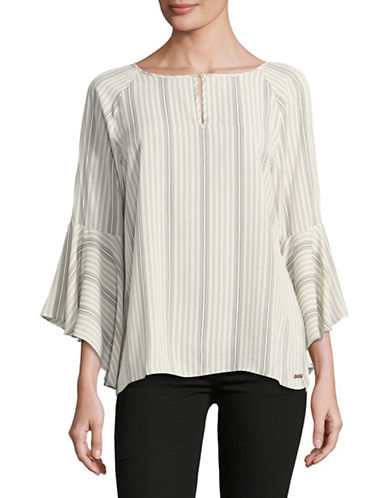 Ivanka Trump Striped Bell-Sleeve Blouse-WHITE-X-Large