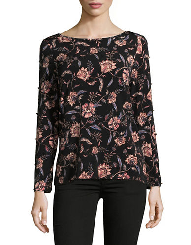 Ivanka Trump Slit Sleeve Floral Top-BLACK MULTI-X-Small