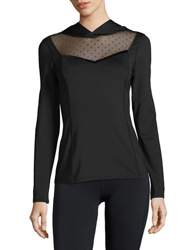 Ivanka Trump Mesh Panel Hoodie-BLACK-X-Large