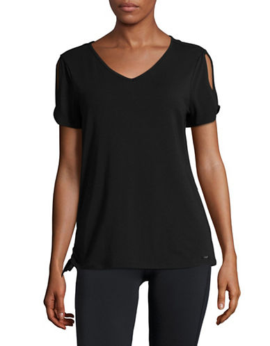 Ivanka Trump Cold-Shoulder T-Shirt-BLACK-Small 89372399_BLACK_Small