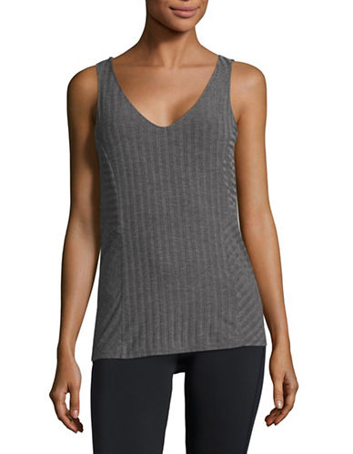 Ivanka Trump Ribbed Tank Top-GREY-X-Large