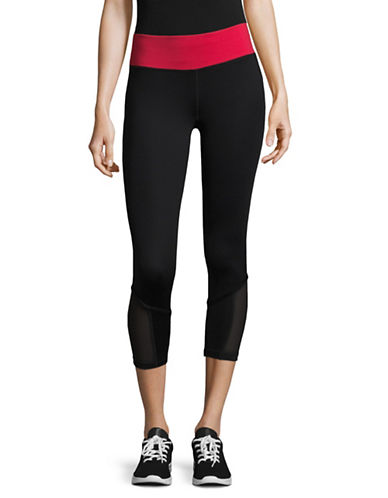 Ivanka Trump Contrast Leggings with Pocket-BLACK/RED-Medium