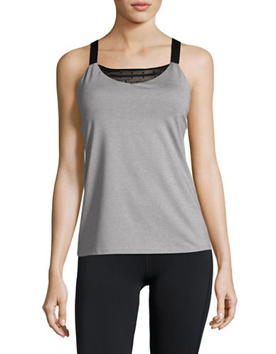 Ivanka Trump Mesh Insert Tank Top-GREY-Medium