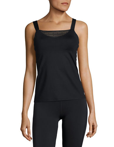 Ivanka Trump Mesh Insert Tank Top-BLACK-X-Large